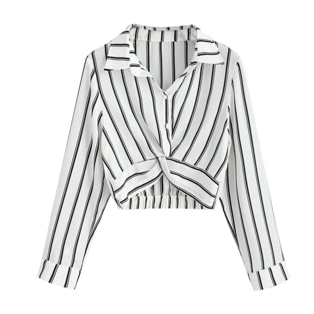 Blusa corta a rayas para mujer, camisa sexi de Otoño de manga larga con botones y cuello vuelto, camisa holgada para todas las estaciones para vacaciones de mujer