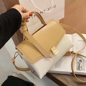 Contrast color Tote bag 2020 FashionNew High quality Leather Women's Designer Handbag High capacity Flap Shoulder Messenger bag