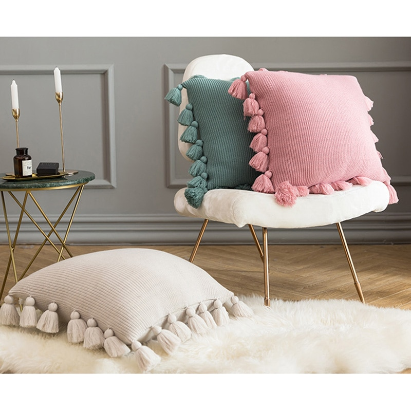 Купить с кэшбэком Soft Knitted Cushion Cover Solid Color Pillow Case with Tassel 45*45cm for Sofa Bed Nursery Room Decorative Pillowcase Home Deco