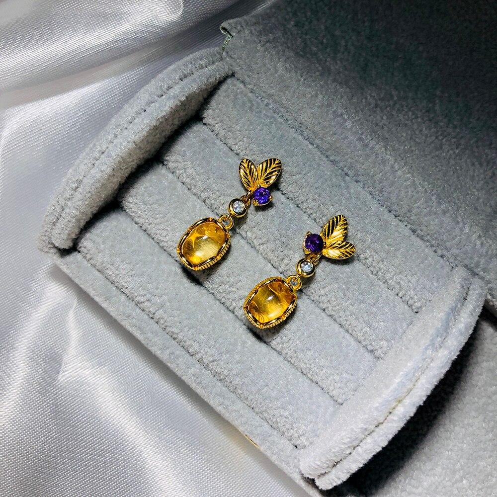 Pendientes de plata de ley 925 LAMOON para mujer, pendientes de gota de piedra preciosa citrino con forma de hoja, joyería fina chapada en oro de 14K LMEI007