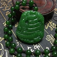 natural green hand carved smooth sailing jade pendant fashion boutique jewelry mens and womens dragon boat necklace