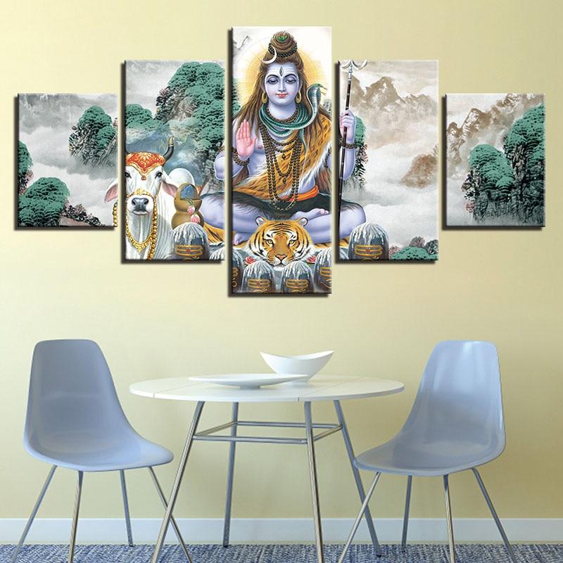 5 painel de impressão hd deus hindu senhor shiva e animais cavalo poster modular quadros em tela sala arte da parede fotos decoração