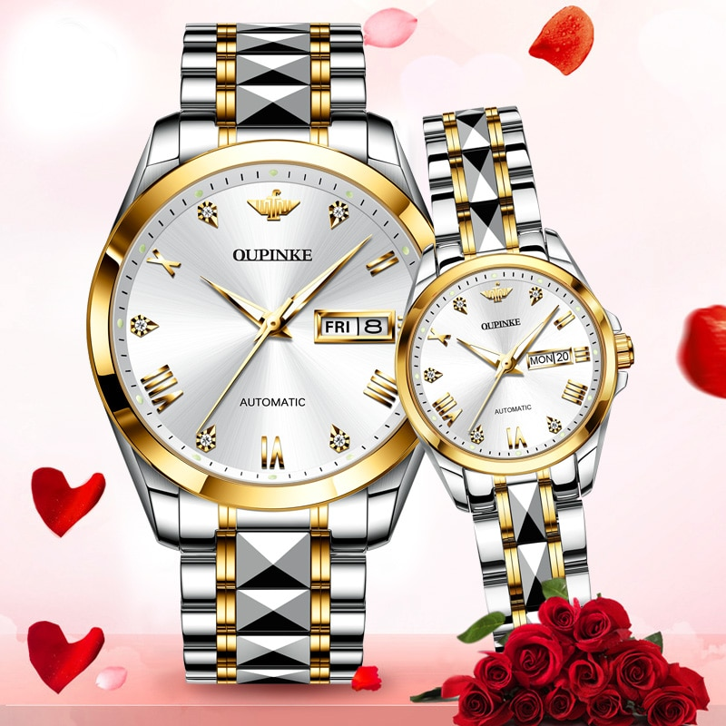 Couple Watch OUPINKE Brand Luxury Automatic Mechanical Watch Tungsten Steel Waterproof Clock Couple Gift relogio masculino 2020