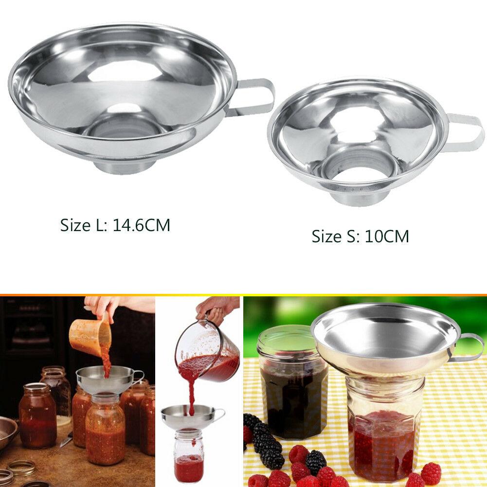 Stainless Steel Wide Neck Jar Funnel Cup Funnel Filter Kitchen Helper