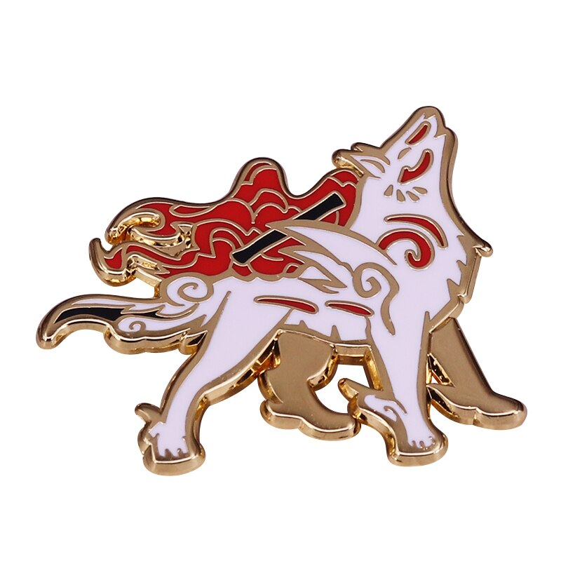 Ammako sun deusa lobo branco uivando vídeo jogo lapela pino inspirado na mitologia japonesa jóias acessórios