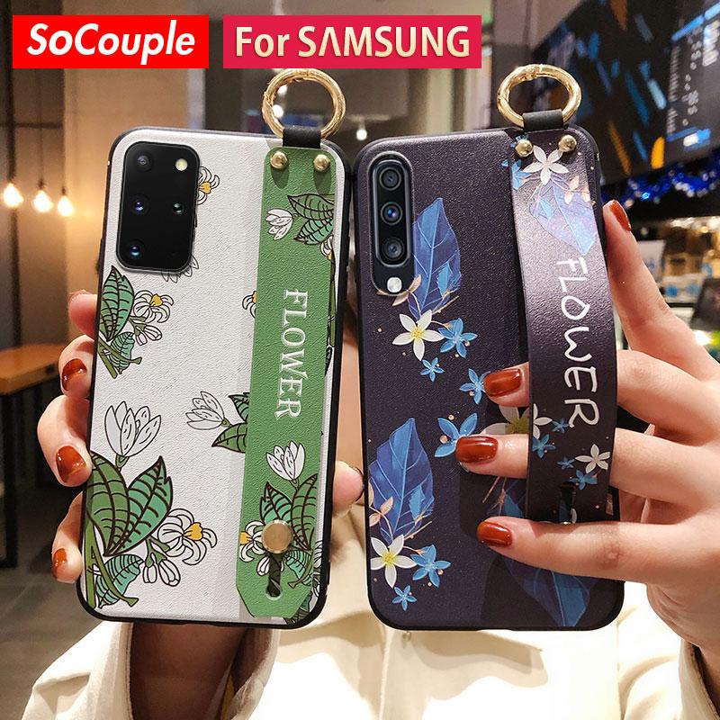SoCouple Fall Für Samsung Galaxy A51 50 70 71 20 30 21s 42 S20 FE S9 S10 S21 Plus hinweis 10 20 Ultra Handgelenk strap Telefon Halter Fall