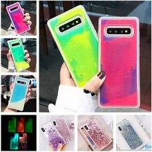 Funda de arena de neón luminosa para Samsung Galaxy S8 S9 S10 Plus Note 10 8 9 S10 Lite que brilla en la oscuridad