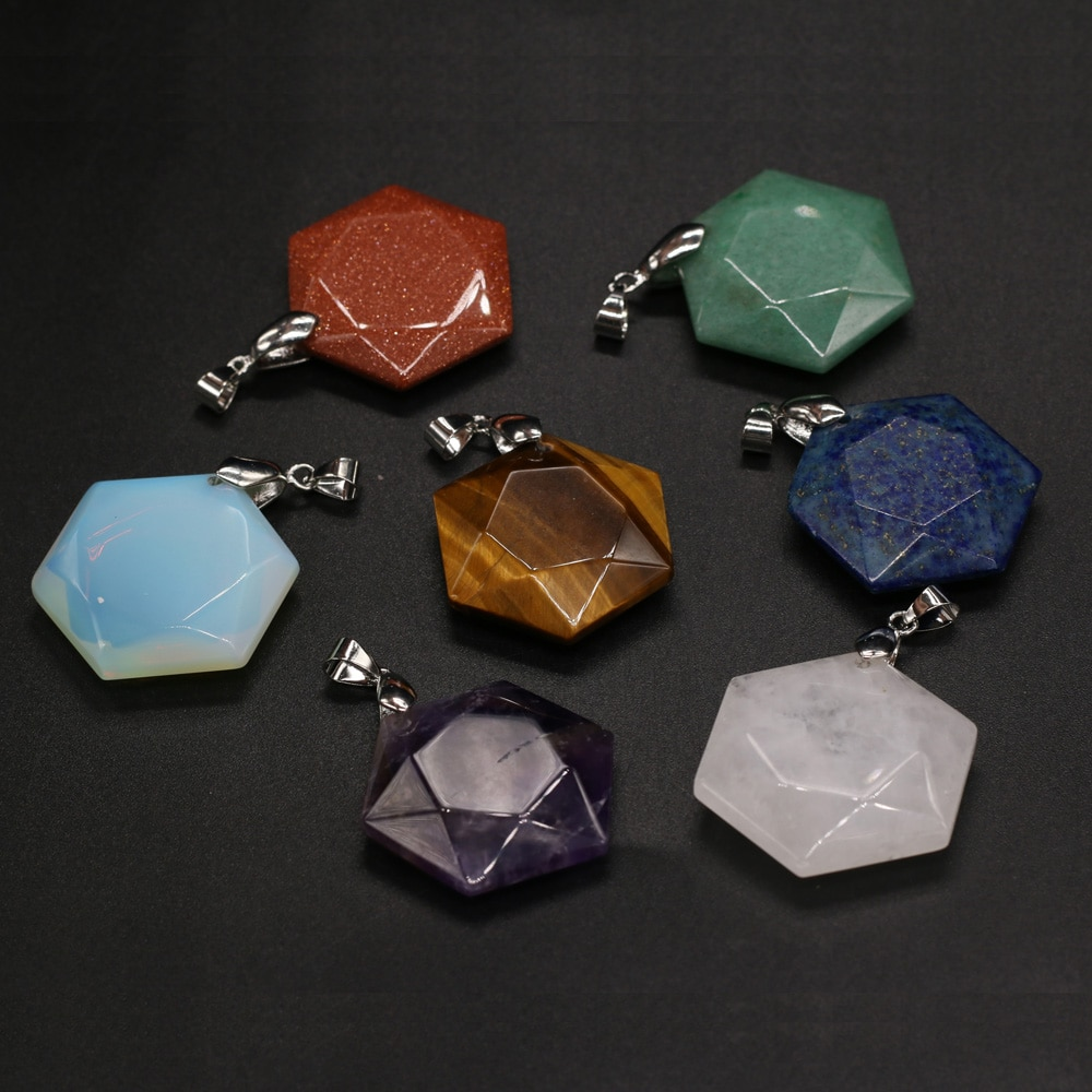 Fashion Natural Stone Pendant Polygon Aventurines Jades Lapis Lazuli Charms for Women Jewelry Making DIY Necklace Size 28x30mm  - buy with discount