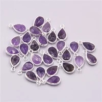 3pcslot natural alloy amethysts purple quartz crystal stone water drop loose pendant charm for women jewelry making necklace
