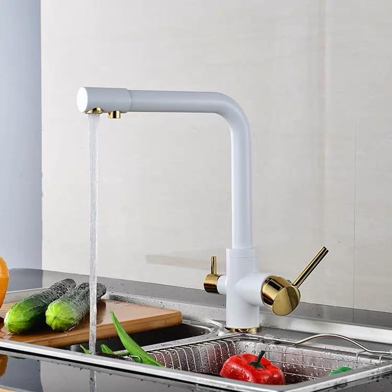 WZLY-حنفيات فلتر المطبخ ، صنبور مطبخ نحاسي دوار 360 درجة مع وظيفة تنقية المياه ، خلاط رافعة Torneira