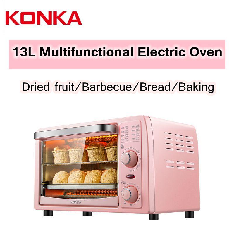 Horno eléctrico KONKA, minihorno multifuncional de 13L, máquina para hornear sartenes, máquina para hacer Pizza doméstica, horno tostador para barbacoa de fruta