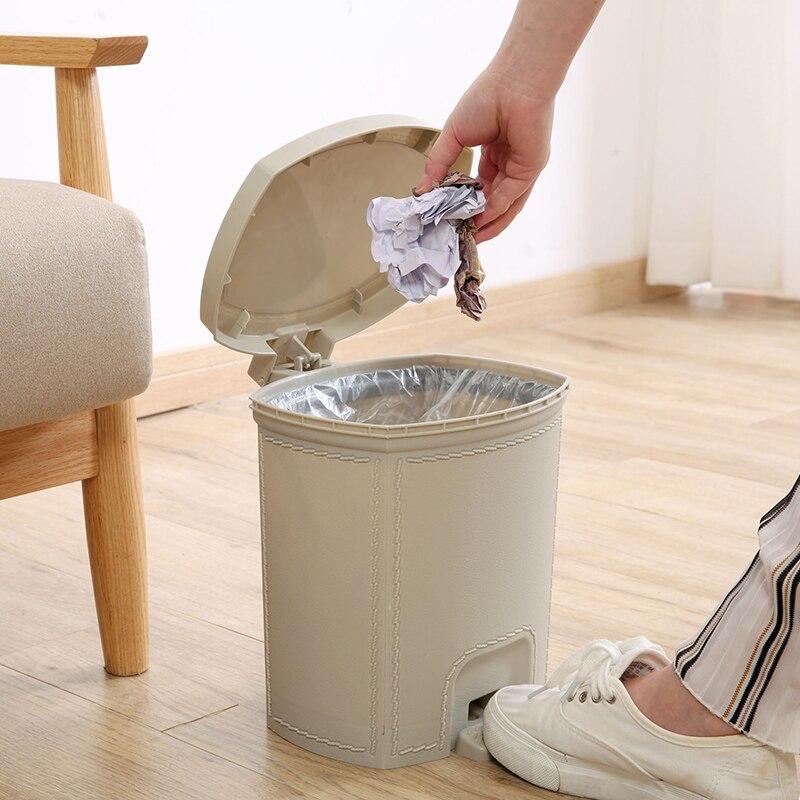 Bedroom Kitchen Trash Bin Large Plastic Living Room Creative Trash Bin Toilet Bin Home with Lid Cubo Basura Waste Bin DJ60LT enlarge
