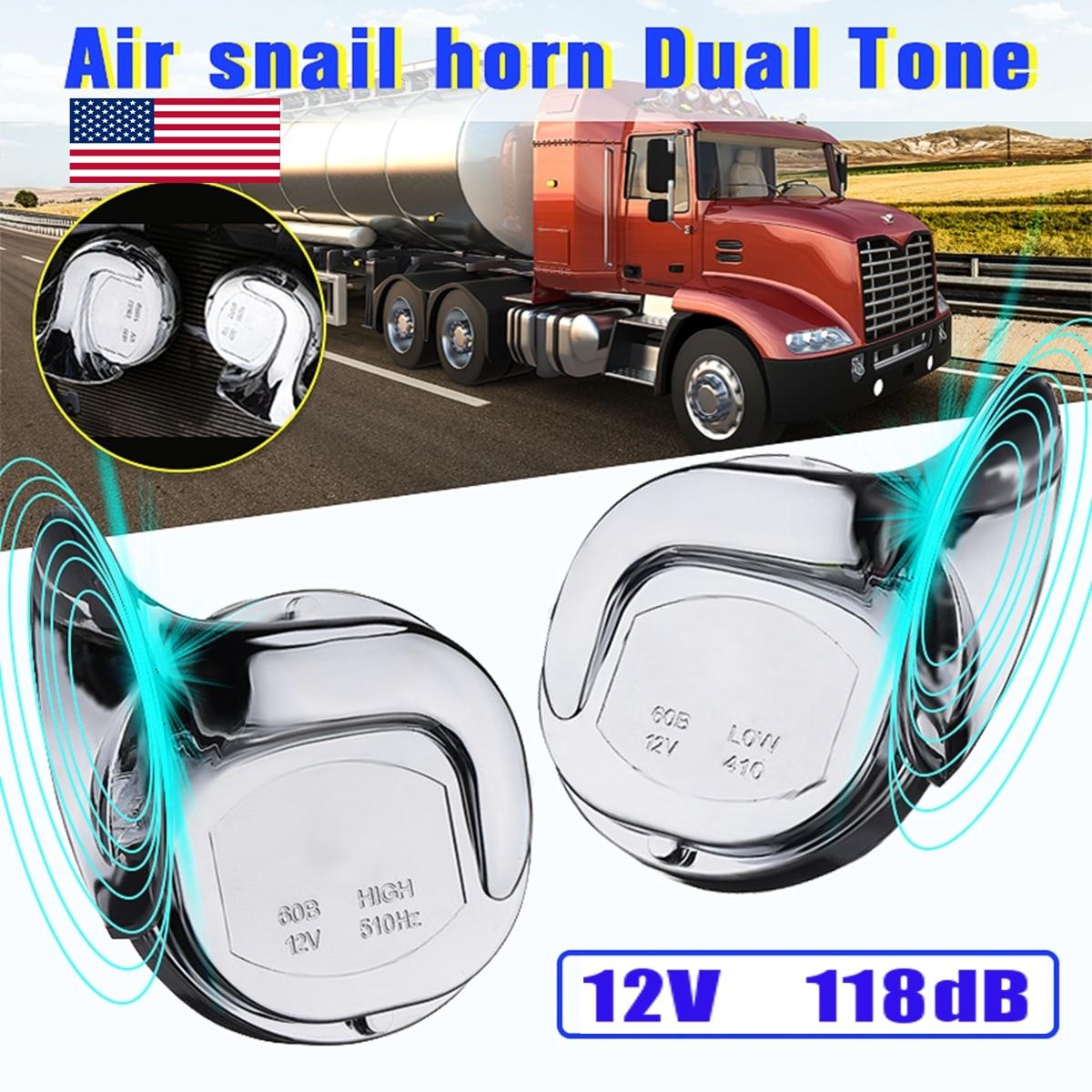Par de bocina de Caracol de aire de doble tono cromado Universal de 12V 110dB para motocicleta y furgoneta