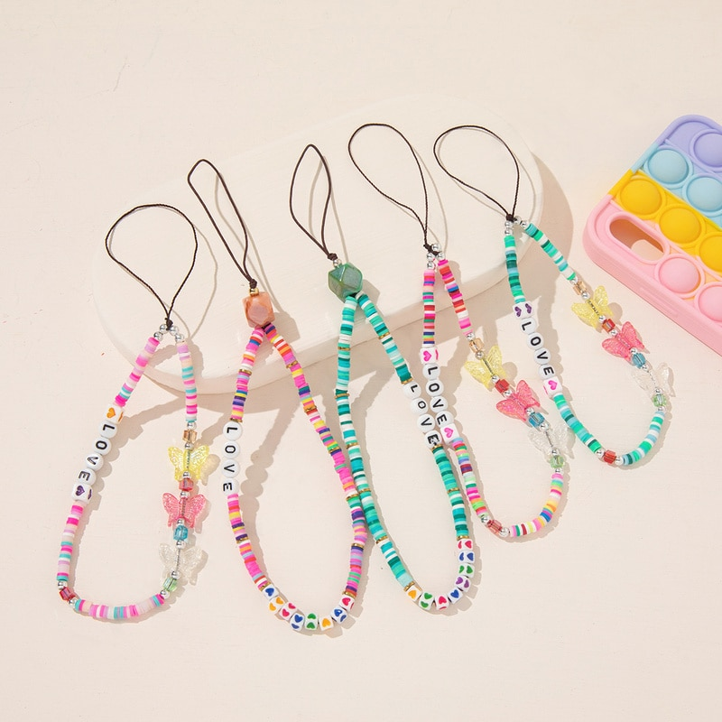 Boho Mobile Strap Phone Acrylic Butterfly Soft Pottery Beaded Phone Chain LOVE Letter Jewelry for Women Anti-Lost Lanyard Hot