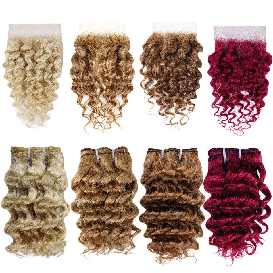 Real beleza brasileira onda profunda remy feixes de cabelo humano com fechamento do laço colorido 99j cabelo vermelho borgonha 4 pacotes com fechamento