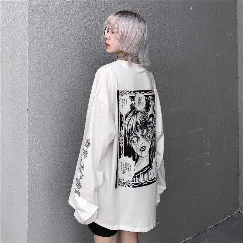 NiceMix de dibujos animados Horror camiseta mujer personaje imprimir suelto Punk japonés T camisas jersey de la parte superior de la calle Harajuku camisetas