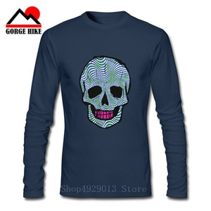 Day Of The Dead T Shirt smiling Sugar Skull With Rose Tees Men 100% Cotton  Original O Neck Brain Waves T-Shirt Long Sleeve Tee
