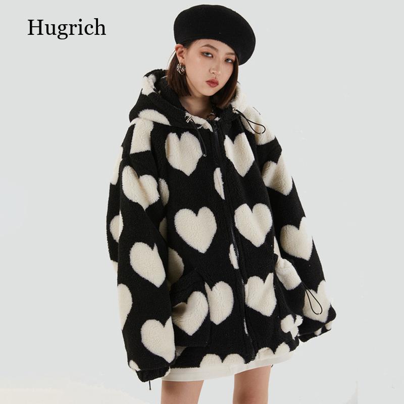 Harajuku القلب طباعة كاملة أفخم سترة المرأة شتاء 2021 الكورية حجم كبير طويل الأكمام مقنعين القطن معطف سميك دافئ