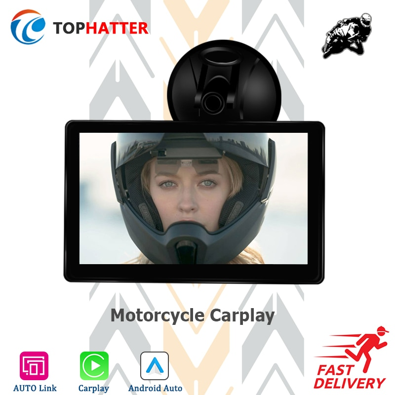 """Linux 7"""" Touch Screen Motorcycle Portable Wireless Apple CarPlay Android Auto Link Water Proof Multimedia GPS Navi HD1080 Player"""
