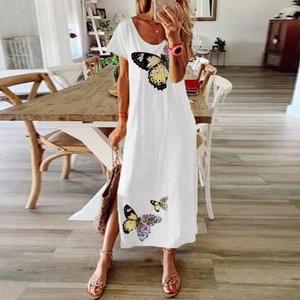 Summer Dresses Women Daisy Butterfly Print Boho Dress O-neck Short Sleeve Party Dress Vintage Casual Slit Long Dress Vestidos#W3