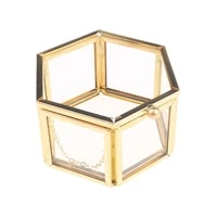 wedding ring box storage box geometrical clear glass jewelry box jewelry organize holder tabletop succulent plants container hom