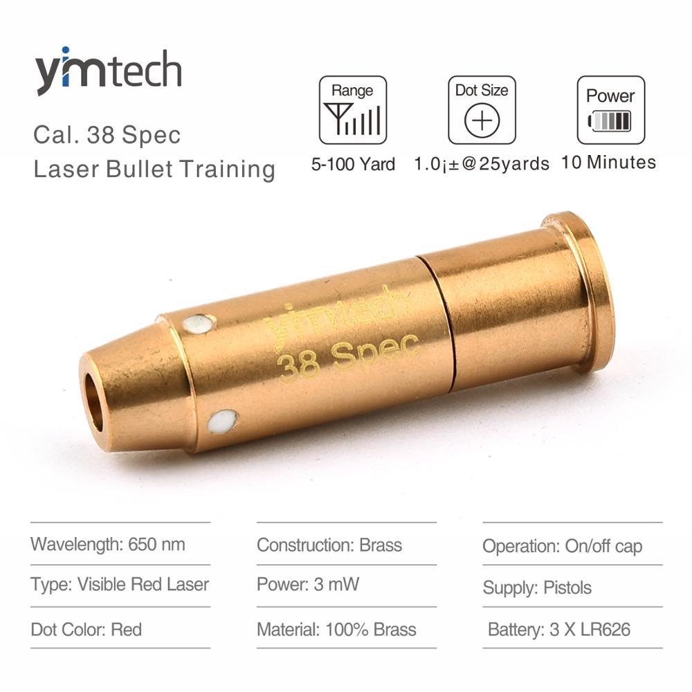 Mira telescópica láser de bala de entrenamiento de 38 especificaciones Rifle de caza mira 100% latón y cartucho de mira láser rojo chapado en oro