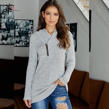 Zipper Sweatshirt Women Autumn And Winter Long Sleeve Solid Color Plus Size Wild Pullover Sweatshirt 2020