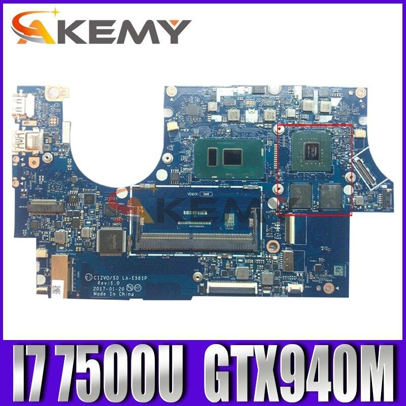 Akemy LA-E581P اللوحة لينوفو Ideapad 720S-14IKB دفتر اللوحة CPU I7 7500U DDR4 GTX940M GPU 2G 100% اختبار العمل