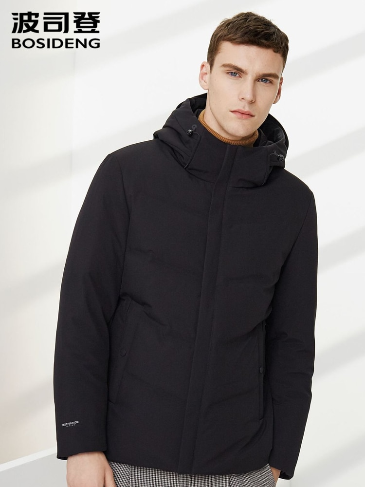 BOSIDENG, chaqueta de plumas de ganso para hombres, Chaqueta corta con capucha, chaqueta de invierno a la moda para hombre, abrigo cálido a prueba de viento, ropa B90141141