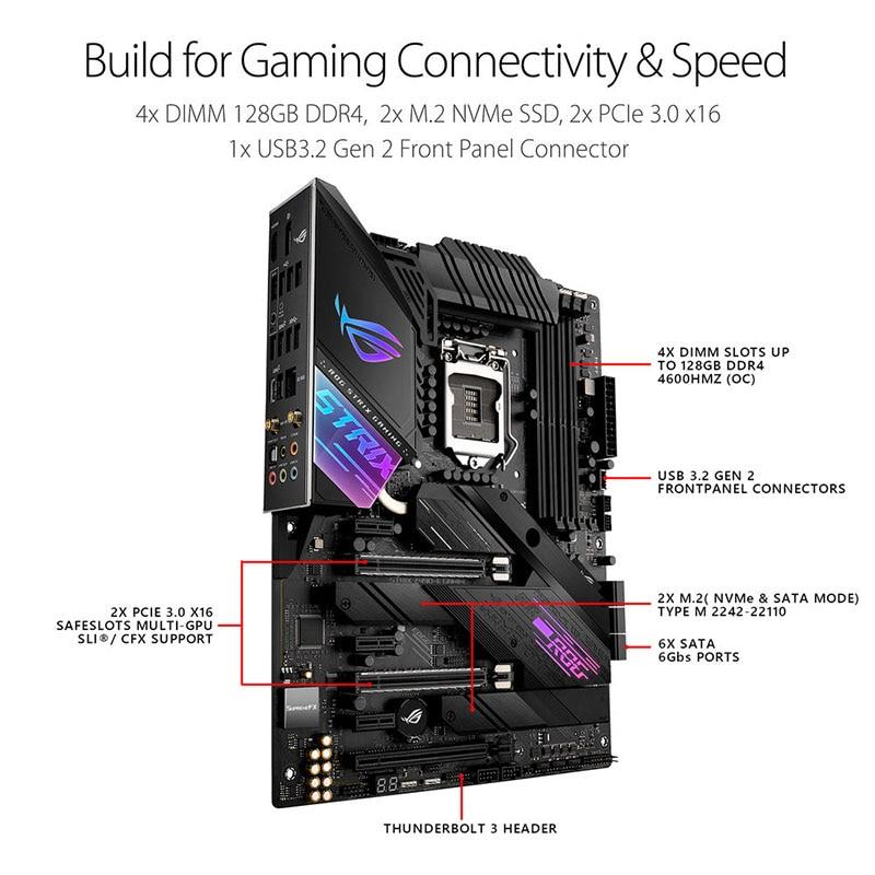LGA 1200 Asus ROG STRIX Z490-E GAMING Motherboard Set + Intel Core i7 10700K Combo DDR4 128GB PCI-E 3.0 M.2 Intel Z490 Placa-Mãe