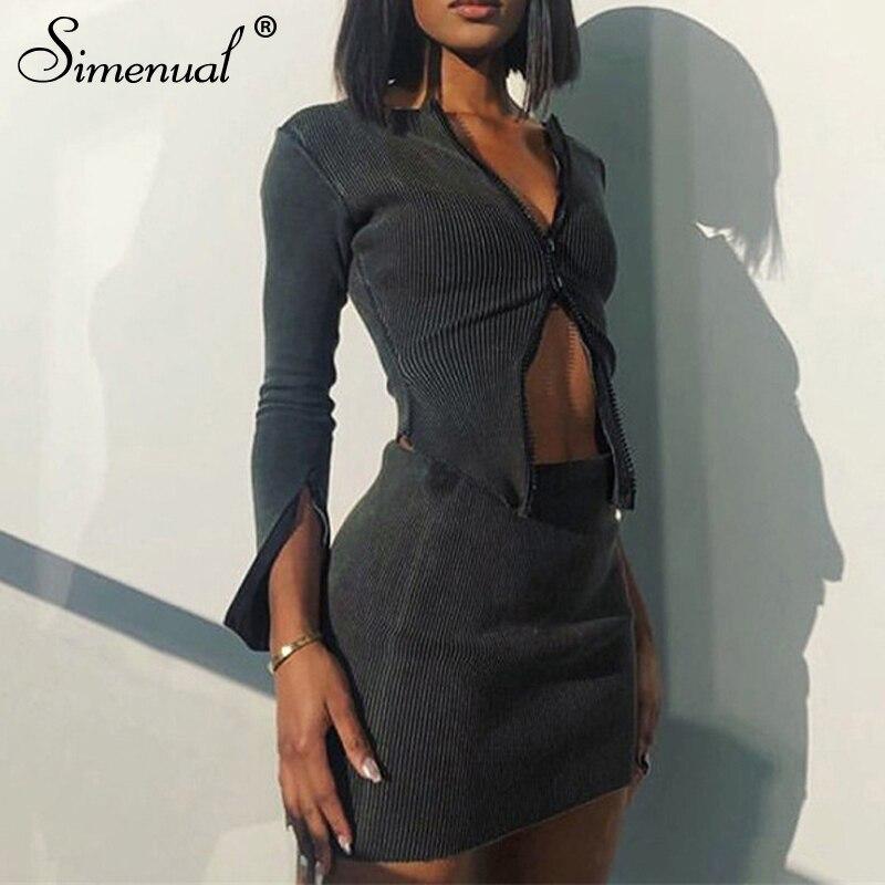 Simenual com nervuras zíper cinza sólido moda feminina dois conjuntos de manga longa outono clubwear bodycon outfits quente topo e saia conjunto