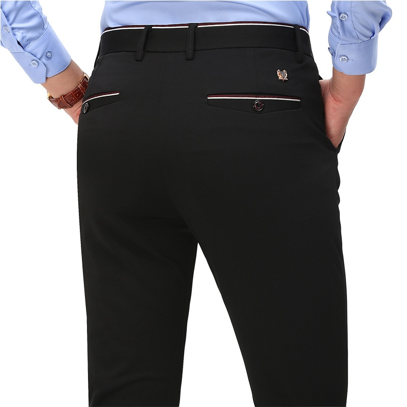 2020 Fashion Suit Pants Mens Elegant Dress Pants Solid Color Straight Long Trousers Male Slim Fit Formal Black Blue Trousers