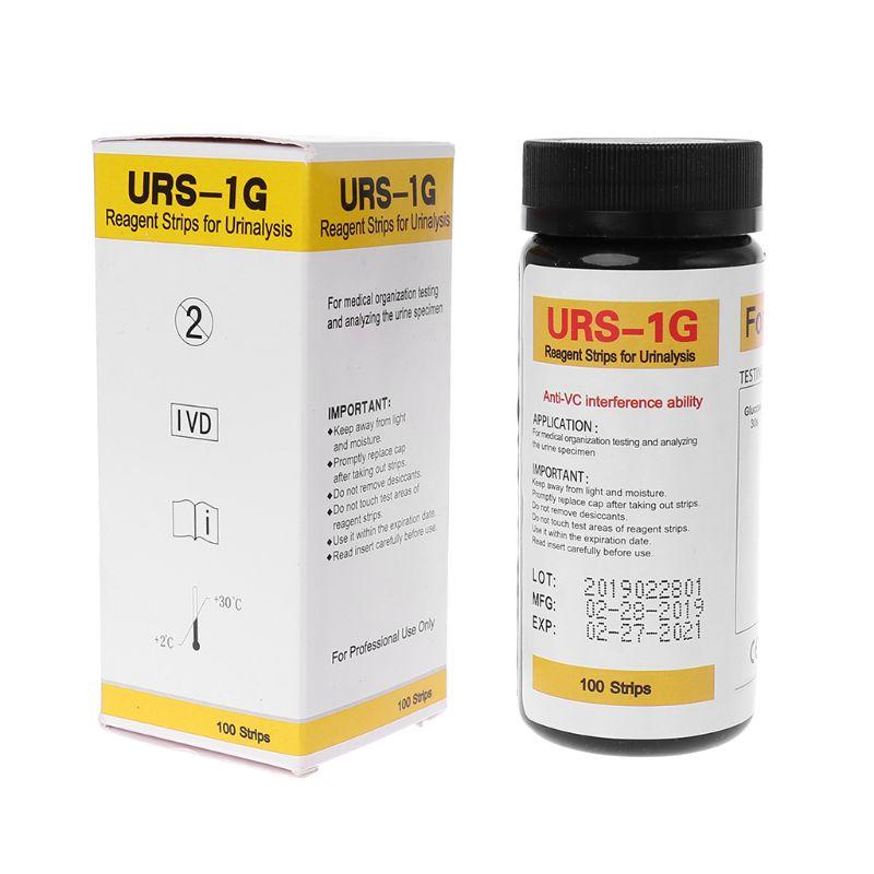 100 tiras URS-1G de glucosa en la orina de la tira de prueba de reactivo de tira de orina con Anti-VC interferencias capacidad