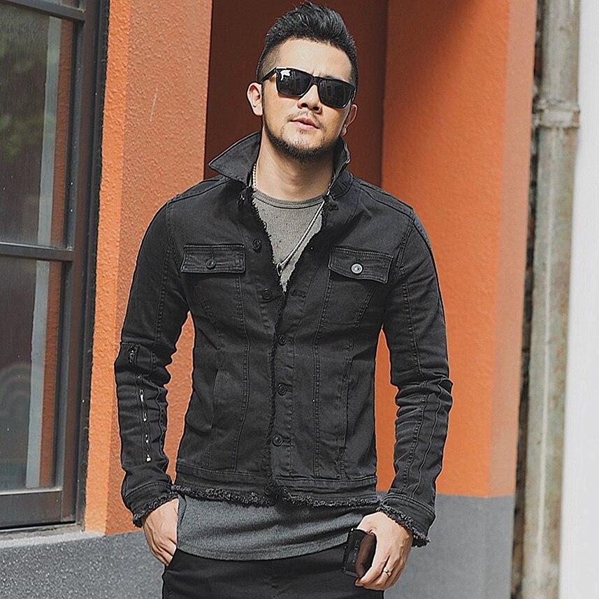 Outono masculino fino casual preto denim estilo europeu moda jaqueta mextrosexual masculino sólido hip hops retro outwear jaqueta f313