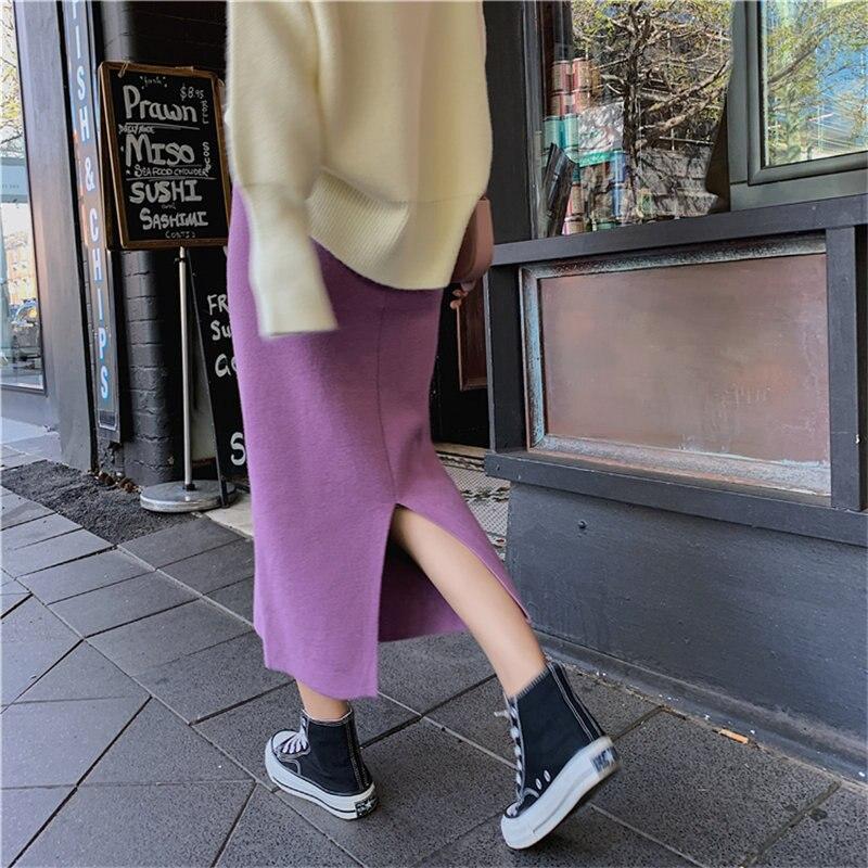 HziriP nuevas mujeres suaves Split sólido de punto faldas 2020 de alta cintura ropa de calle Chic de alta calidad todo-fósforo falda suelta femenina