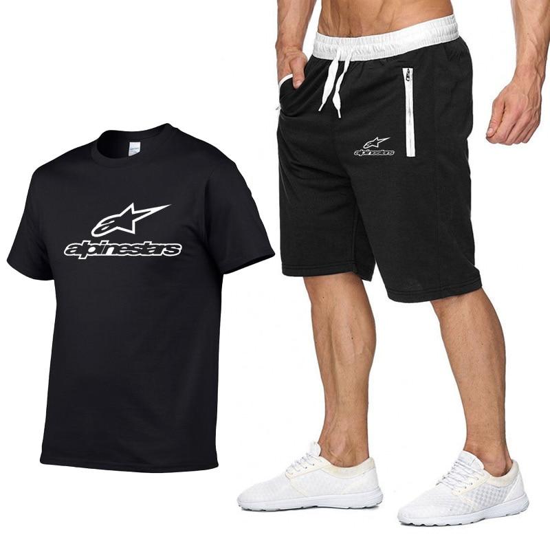 2020 t camisa dos homens alpinestars moda verão algodão manga curta terno esportivo camiseta + shorts 2 peças conjuntos roupas casuais