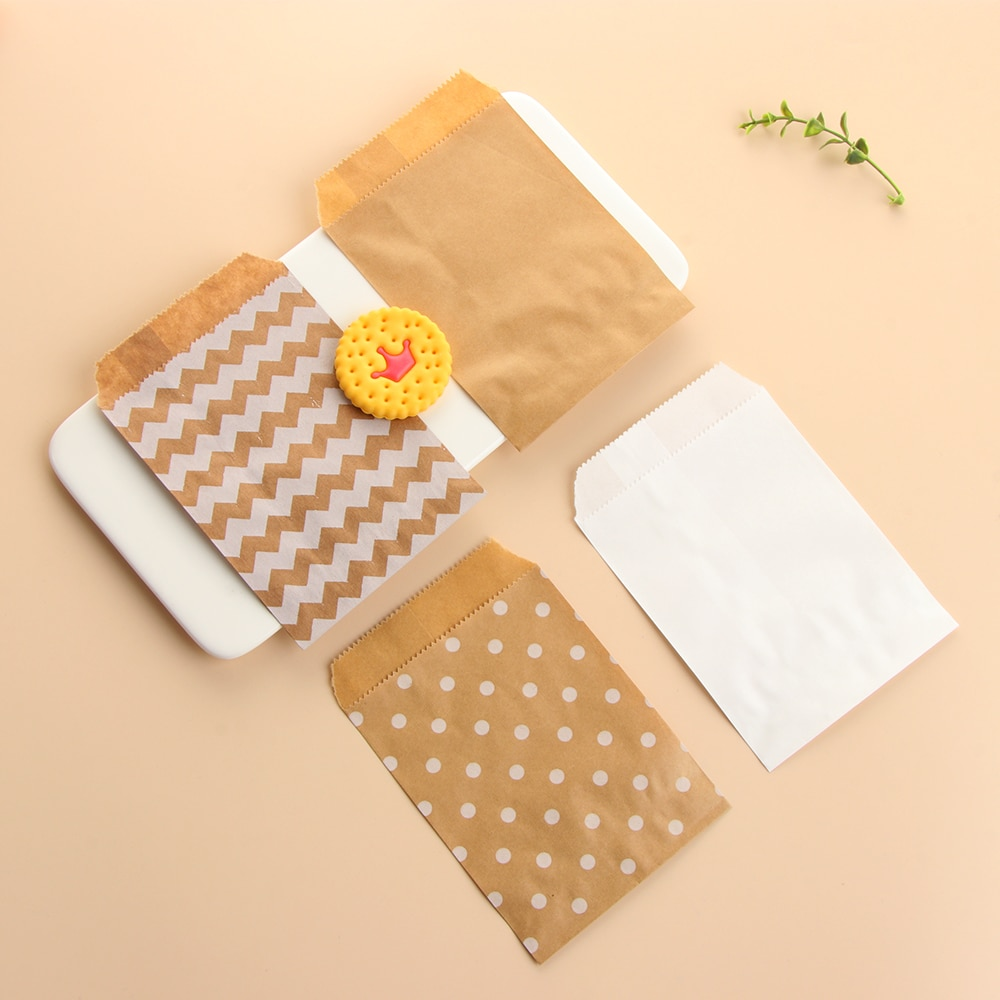 50 piezas marrón blanco ola Dot Kraft bolsa de papel caramelo galletas palomitas bolsas embalaje bolsa herramienta de pastelería envolver fiesta de boda suministros