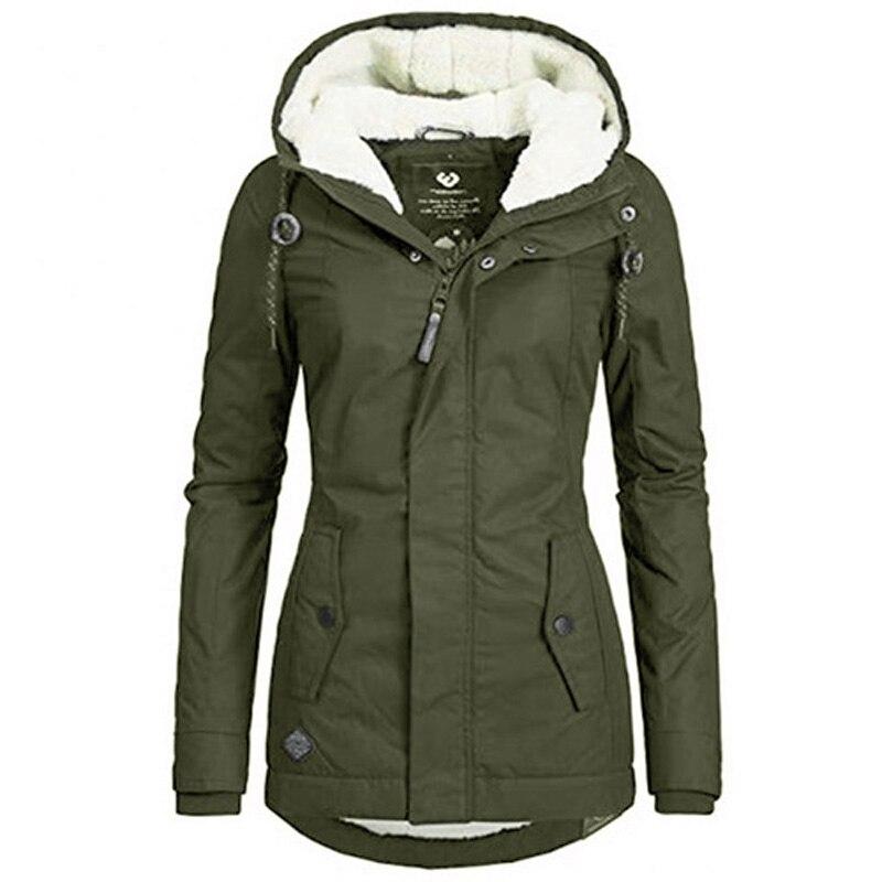 Куртка с хлопковой подкладкой, Черная Женская однотонная теплая зимняя куртка с капюшоном, Женская Повседневная Свободная парка в стиле ре...