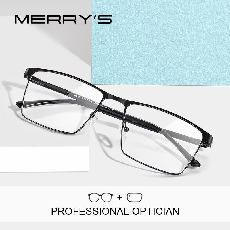 MERRYS DESIGN Men Prescription Glasses Square Myopia Full Frames Eyeglasses Male Business Style Optical Glasses S2057PG