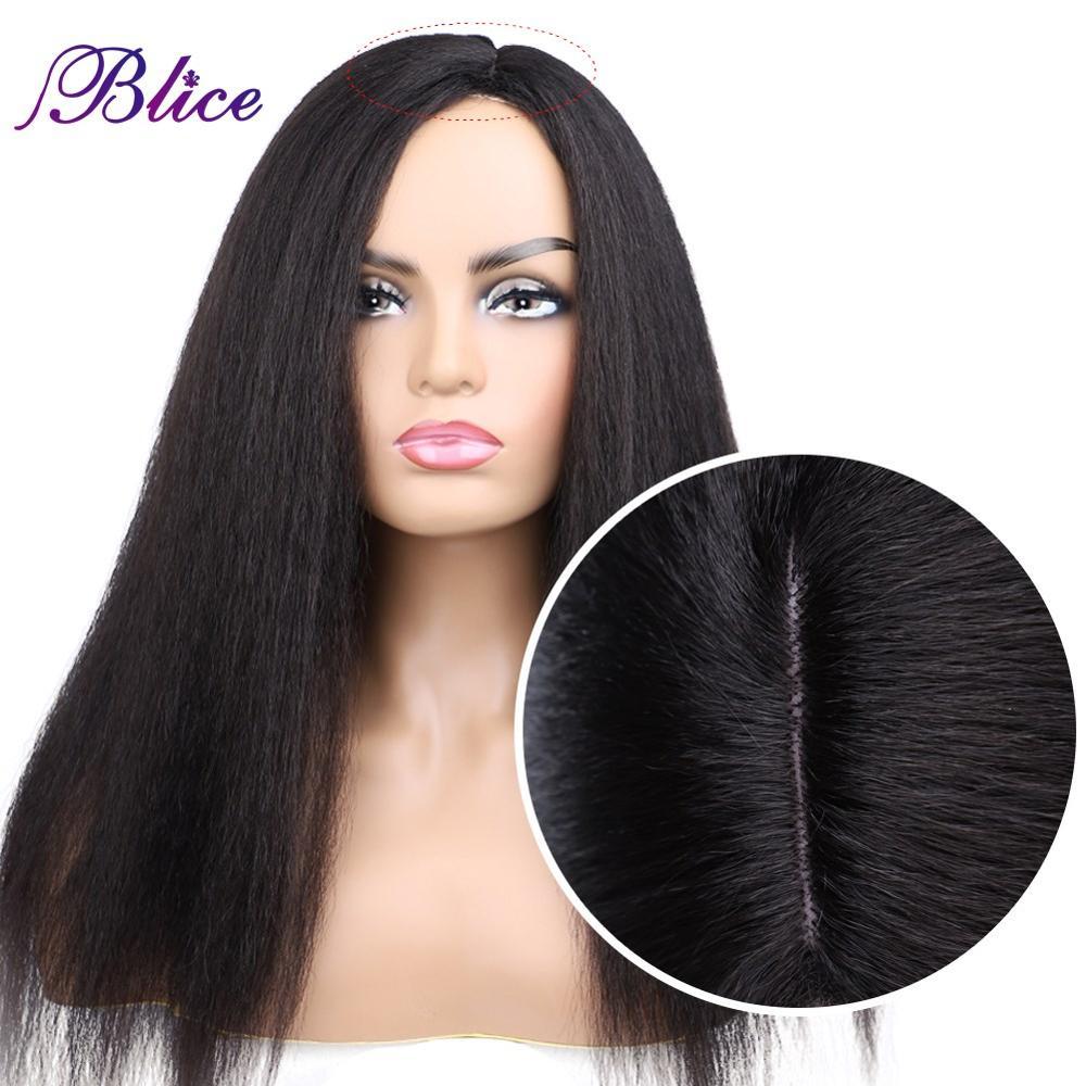 Blice-شعر مستعار طويل من الألياف الاصطناعية ، تسريحة مع فراق جانبي ، بدون هامش ، شعر ناعم ، 18 إلى 22 بوصة ، للنساء الأفريقيات والأمريكيات