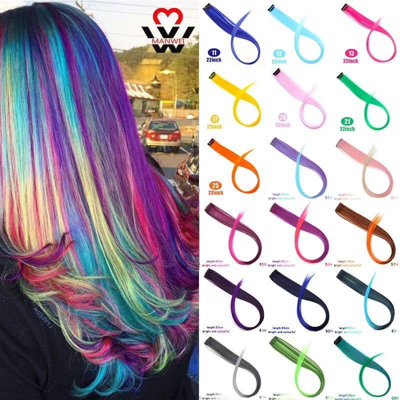 MANWEI hebras de pelo en Clips 20 pulgadas de largo recto extensiones de pelo falso Clip en Arco Iris pelo raya Ombre sintético mujeres
