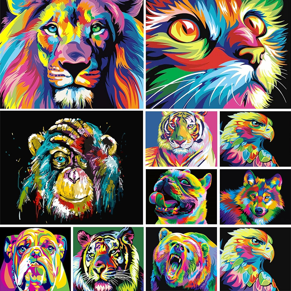 5D diamond painting animal set, color, lion, tiger, cat, square diamond embroidery, mosaic picture, cross stitch, DIY decoration