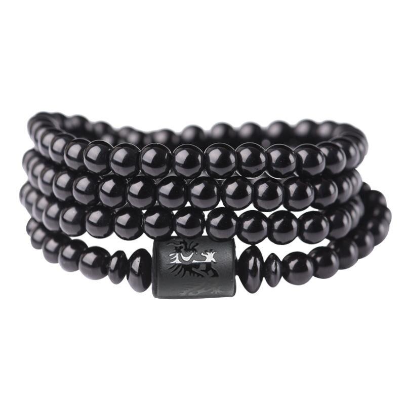 Pulsera de los amantes de obsidiana de moda Buda Mala Beads hombres dragón mujeres Fénix pulseras brazaletes joyería étnica hecha a mano