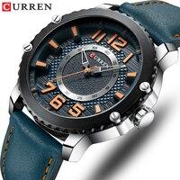 CURREN Blue Man Watch 2019 Leather Strap Watches Men Luxury Brand Men's Wrist Watches Sport Watches Man Business