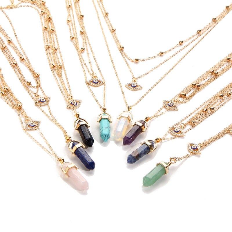 KSRA 2020 collar de ojo turco de cristal Natural Vintage bohemio para mujer, cadena de piedra a la moda, collar con colgante de declaración, joyería