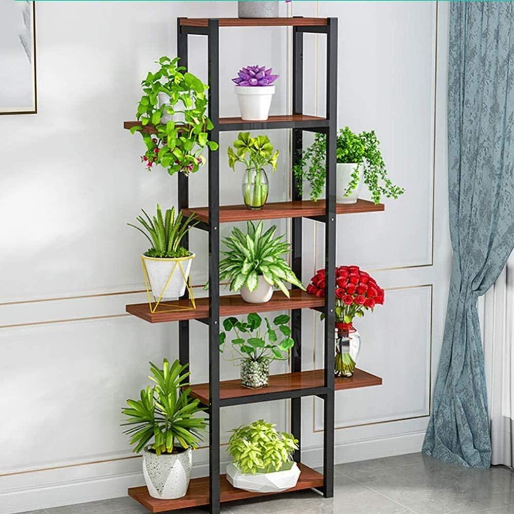 Wooden 6 Tiers Flowers Pots Stand Balcony Plant Shelves Display Rack for Home Office Garden Decor Storage Rack Modern Bookshelf