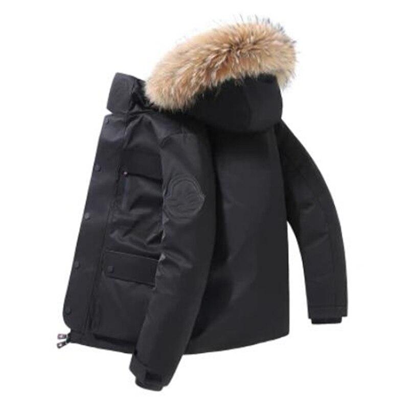 Новинка 2021, мужской пуховик, уличная Толстая куртка с большим меховым воротником, теплая и непромокаемая Мужская одежда, черная брендовая к...