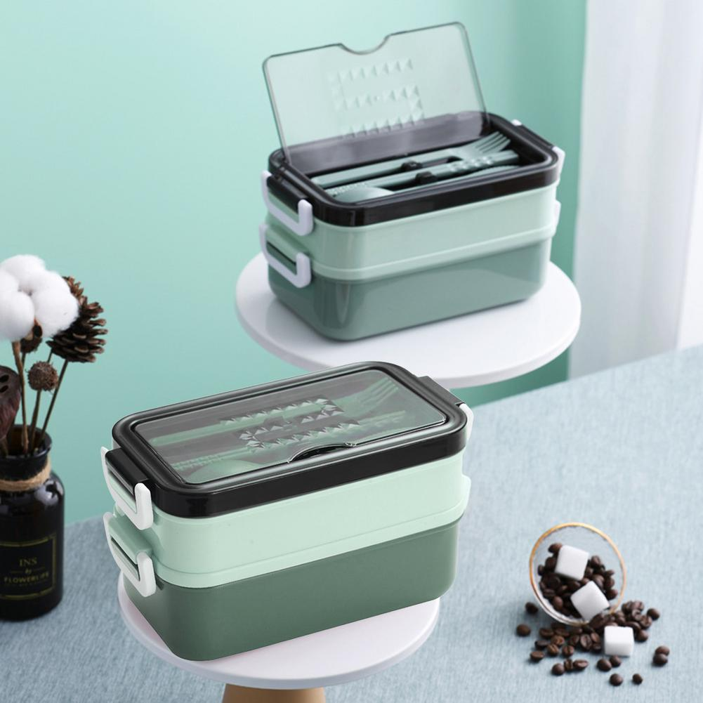 double-layer lunch box with tableware/Soup bowl Stainless steel thermal insulation Bento Lunch Boxes picnic Food storage case