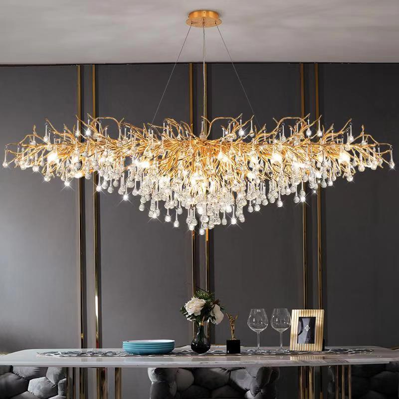 Artpad Rectangular Crystal Chandelier Living Room Lobby Hotel Light Fixtures for Celling Chandelier Modern Decorative Led Lamps