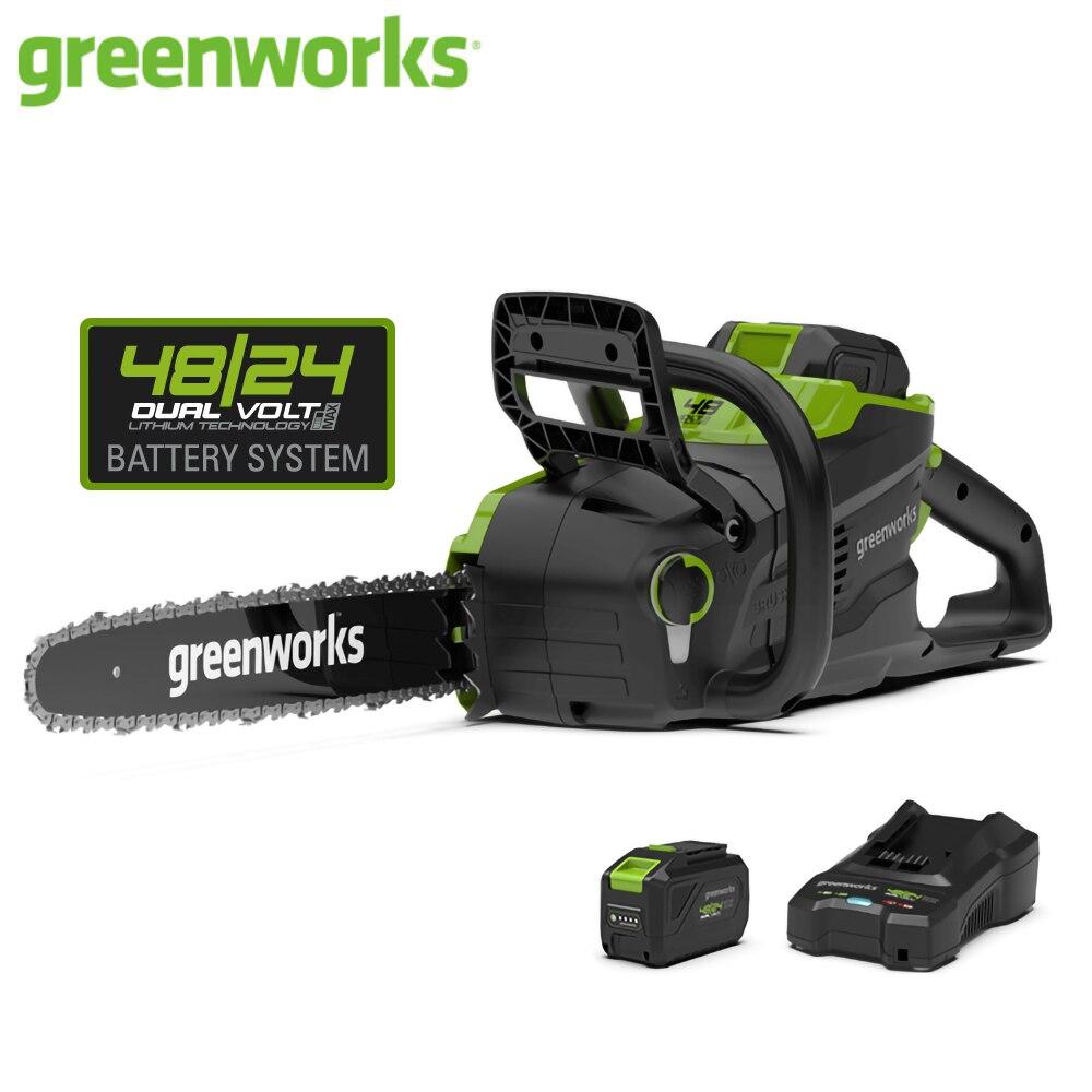 Greenworks 48 فولت 4.0Ah اللاسلكي سلسلة المنشار فرش السيارات GD48CS36 24 فولت/48 فولت المزدوج الجهد المنشار مع بطارية وشاحن أدوات